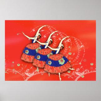 Ballet Printemps Ballerina Poster (red)