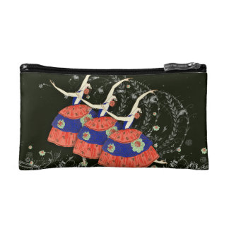 Ballet Printemps Dancing Ballerina Trio Bagette bk Cosmetic Bags