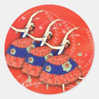 Ballet Printemps in Red Ballerina Labels Classic Round Sticker