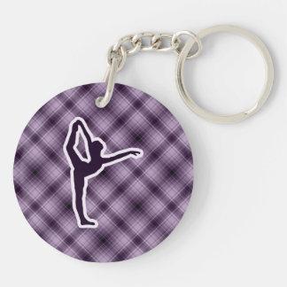 Ballet púrpura llavero redondo acrílico a doble cara