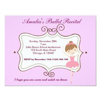 Ballet Recital 4.25x5.5 Paper Invitation Card