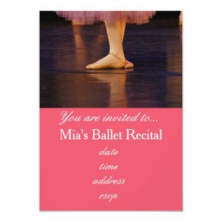 Ballet Recital concert pink ballerina 5x7 Paper Invitation Card