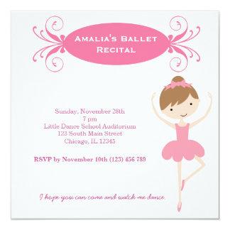 Ballet Recital 5.25x5.25 Square Paper Invitation Card