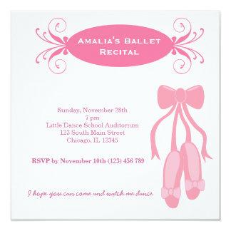 "Ballet Recital 5.25"" Square Invitation Card"