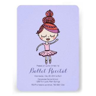 Ballet Recital, Pink Ballerina, Invitation