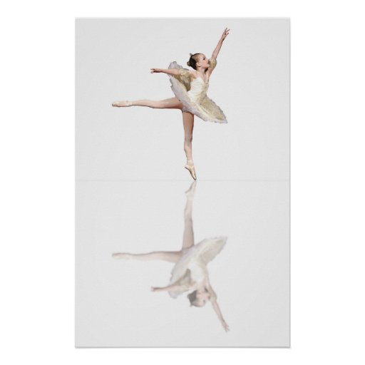 ballet reflections white poster