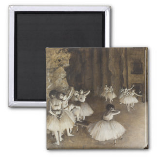 Ballet Rehearsal On Stage by Edgar Degas 2 Inch Square Magnet