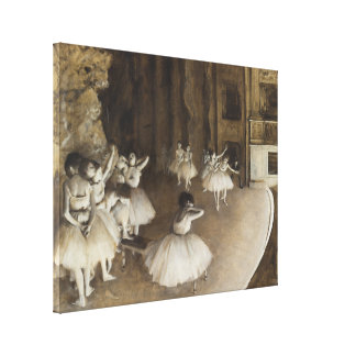 Ballet Rehearsal On Stage by Edgar Degas Canvas Print