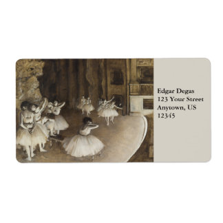 Ballet Rehearsal On Stage by Edgar Degas Label