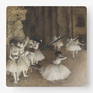 Ballet Rehearsal On Stage by Edgar Degas Square Wall Clock