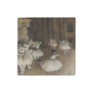 Ballet Rehearsal On Stage by Edgar Degas Stone Magnet