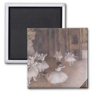 Ballet Rehearsal on the Stage, 1874 2 Inch Square Magnet