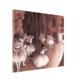 Ballet Rehearsal on the Stage by Edgar Degas Canvas Print