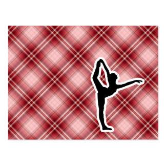 Ballet rojo de la tela escocesa postales