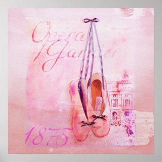 Ballet rosado del bailarín de la bailarina de la a póster