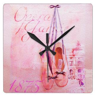 Ballet rosado del bailarín de la bailarina de la a reloj cuadrado