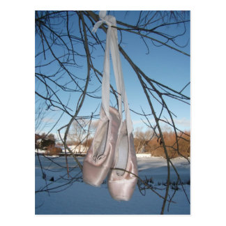Ballet shoe in the snow postcard