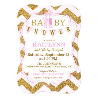 Ballet Shoes and Chevron Print Baby Shower Card