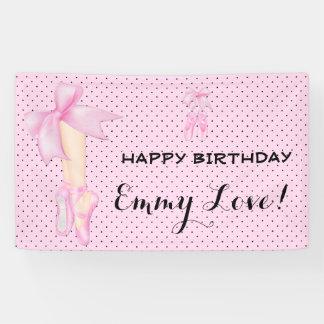 Ballet Shoes Bow Pink & Black Polka Dot Banner