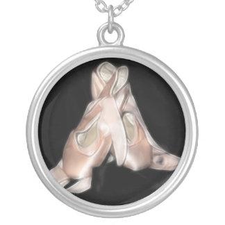 Ballet Shoes Fractal Round Pendant Necklace