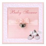 Ballet Shoes & Locket Girls Pink Baby Shower Announcement