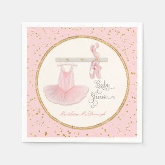 Ballet Slippers n Tutu Little Girl Baby Shower Paper Napkin