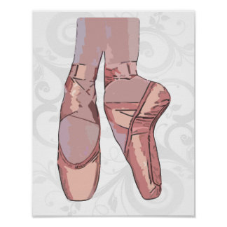 Ballet Slippers Toe Shoes Poster