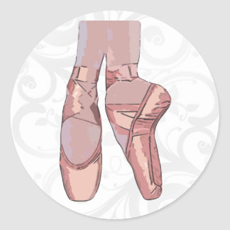 Ballet Slippers Toe Shoes Round Stickers