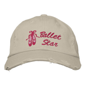 Ballet Star Embroidered Distressed Baseball Cap