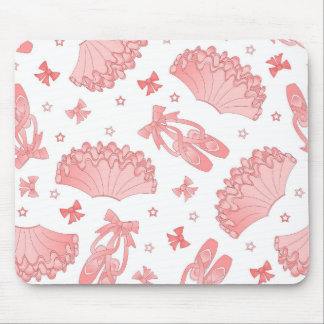 Ballet Star Pink and White Pattern Mouse Pad