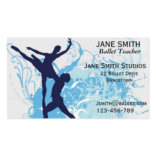 Blue Dance Teacher Double-Sided Business Cards