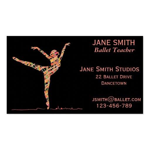 Ballet teacher dance teacher dance studio business card for Dance business cards