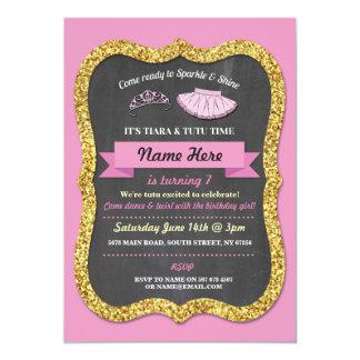 Ballet Tiara Tutu Pink Gold Glitter Birthday Party Card