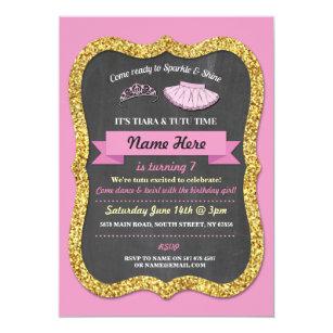 Girls tutu birthday invitations zazzle ballet tiara tutu pink gold glitter birthday party invitation filmwisefo