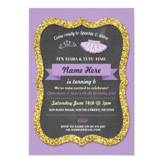 Ballet Tiara Tutu Purple Glitter Birthday Invite