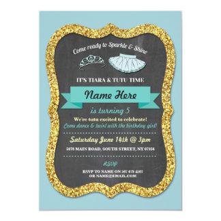 Ballet Tiara Tutu Teal Glitter Birthday Invitation