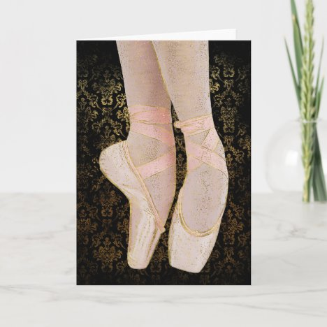 Ballet Toe Shoes - Black Pink Gold Card