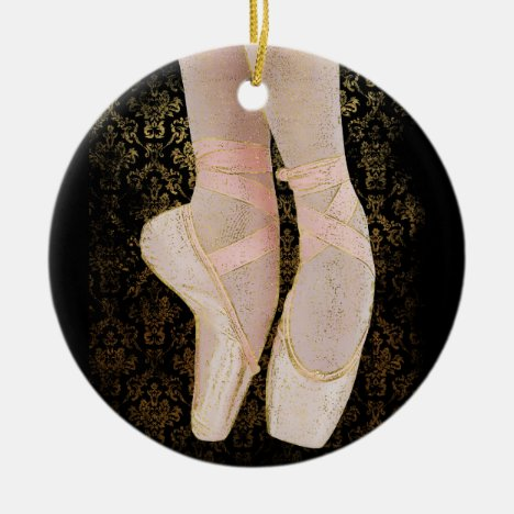 Ballet Toe Shoes - Black Pink Gold Ceramic Ornament