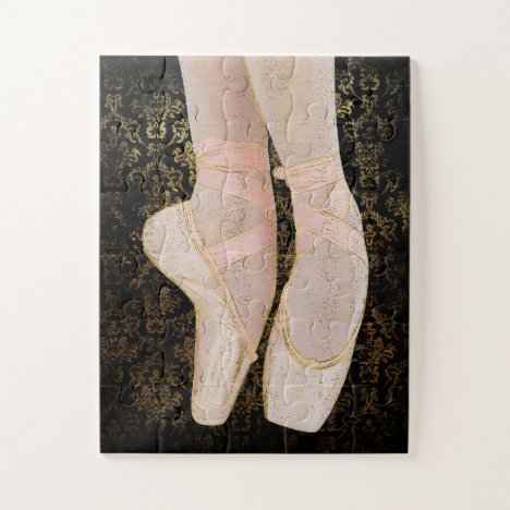 Ballet Toe Shoes - Black Pink Gold Jigsaw Puzzle