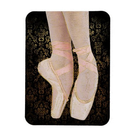 Ballet Toe Shoes - Black Pink Gold Magnet