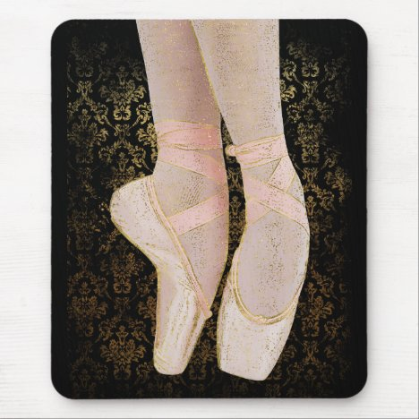 Ballet Toe Shoes - Black Pink Gold Mouse Pad