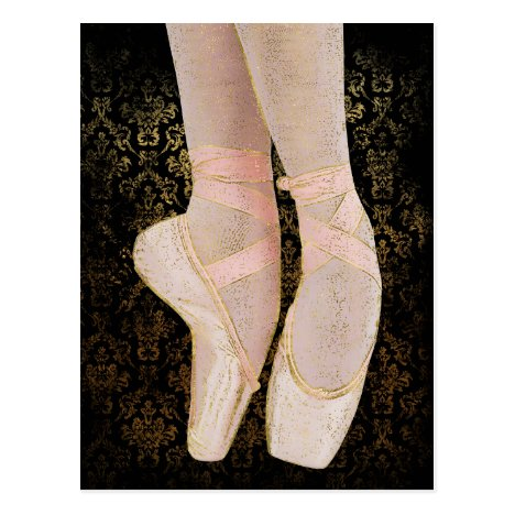Ballet Toe Shoes - Black Pink Gold Postcard
