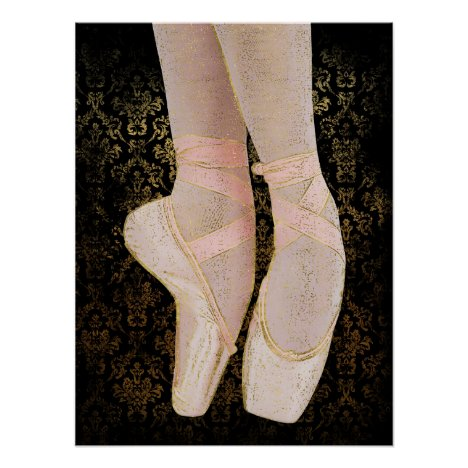 Ballet Toe Shoes - Black Pink Gold Poster