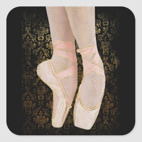 Ballet Toe Shoes - Black Pink Gold Square Sticker