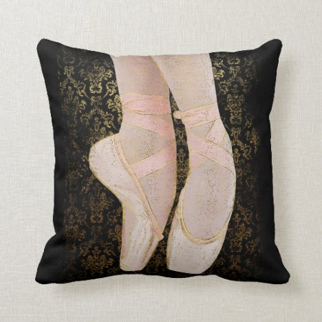 Ballet Toe Shoes - Black Pink Gold Throw Pillow
