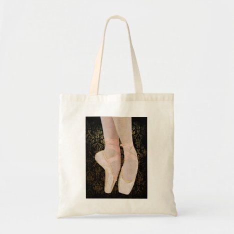 Ballet Toe Shoes - Black Pink Gold Tote Bag