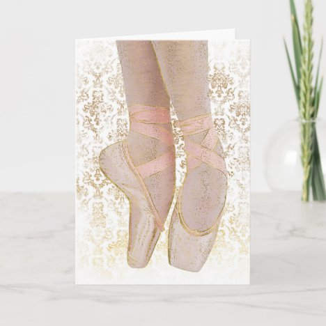 Ballet Toe Shoes - Pink Gold White Card