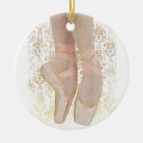 Ballet Toe Shoes - Pink Gold White Ceramic Ornament