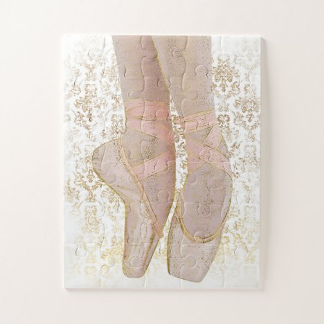 Ballet Toe Shoes - Pink Gold White Jigsaw Puzzle