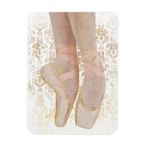 Ballet Toe Shoes - Pink Gold White Magnet